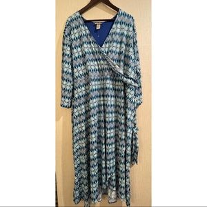 Catherine's Blue Green Wrap Dress FREE SHIPPING